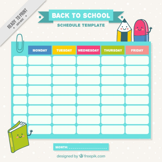 School Schedule With Nice Drawings Vector | Free Download