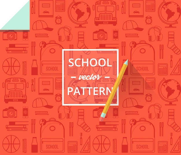 School seamless pattern. back to school illustration for wrapping paper. Premium Vector