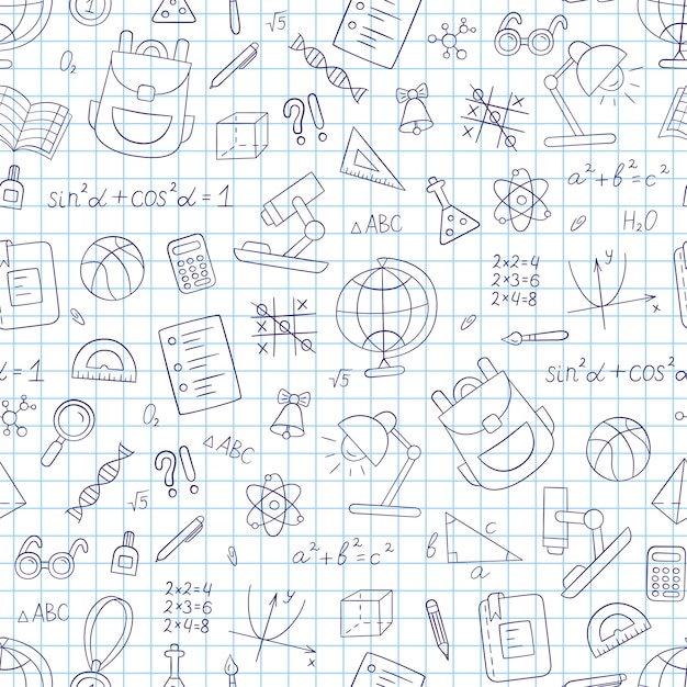 School seamless pattern in doodle style. notebook in a cage. hand drawn llustration Premium Vector
