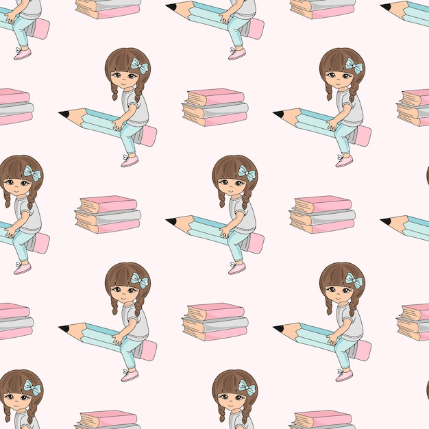 School seamless pattern vector illustration girl on pencil Premium Vector