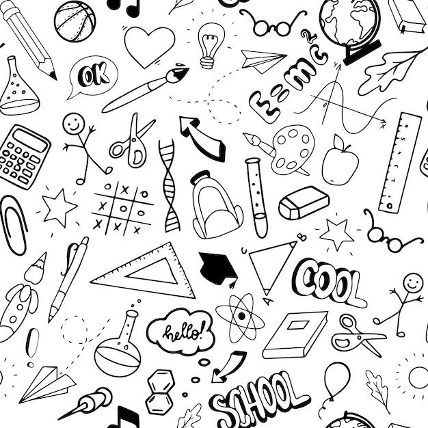 School seamless pattern Premium Vector