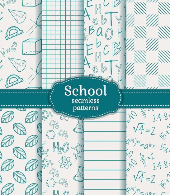 School seamless patterns Premium Vector