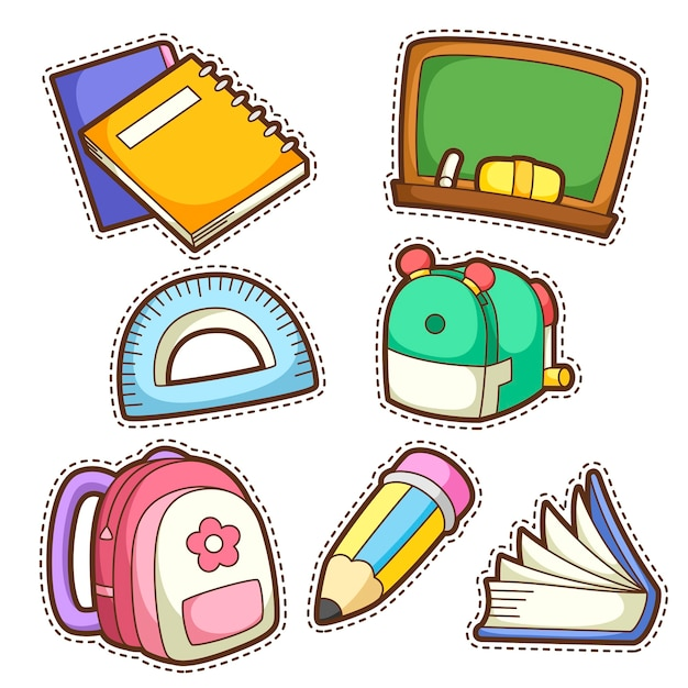 Школьный набор. набор различных школьных предметов, иллюстрации. Premium векторы