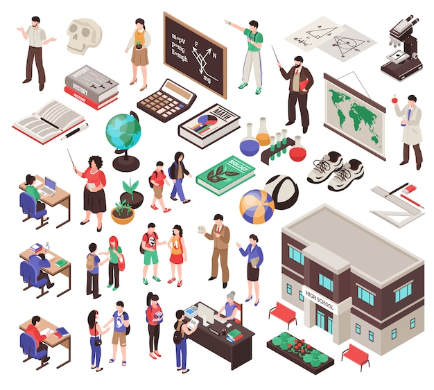 School set with teachers lesson equipment and education symbols isolated isometric Free Vector