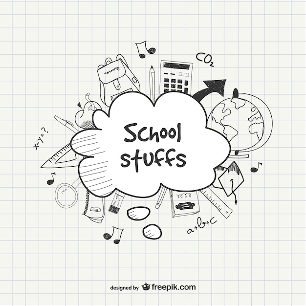 School sketchy template Free Vector