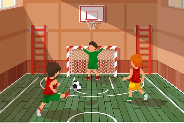 학교 축구 게임. 축구하는 아이. 운동 계단, 학교 홀 게임, 농구, 축구 지역 벡터 일러스트 레이션 무료 벡터