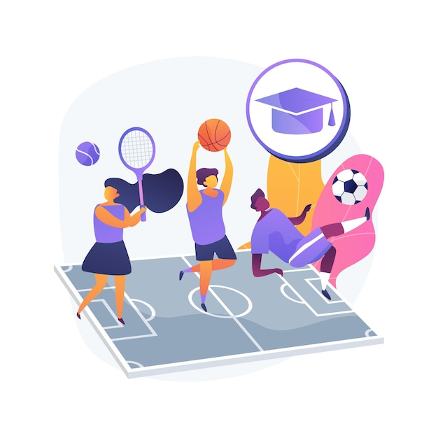School sports team abstract concept   illustration. school children club, competitive team sports for kids, after-school activity, local tournament, athletic exercise Free Vector
