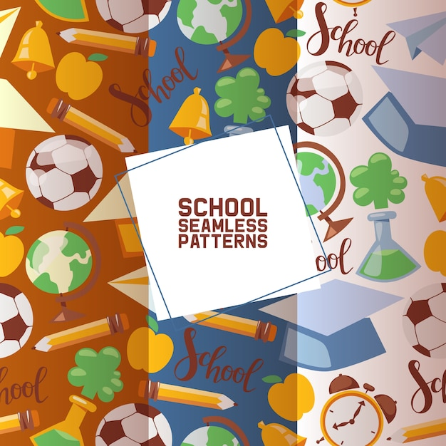 School stationary set of seamless patterns kids education equipment. school supplies, colorful office accessories such as football, globe Premium Vector