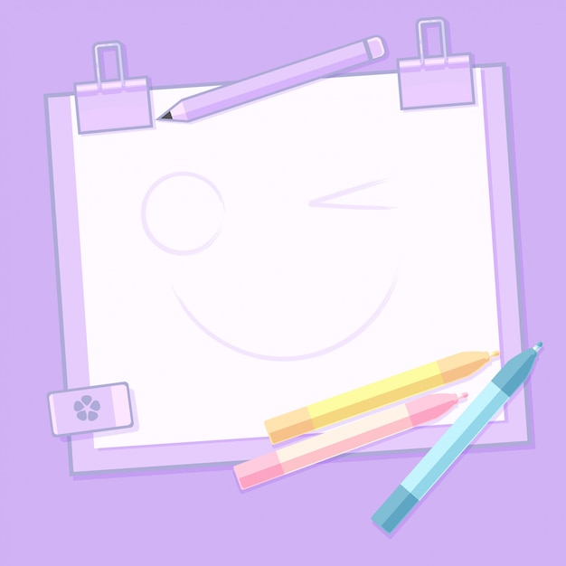 School stationery and blank notepad Premium Vector