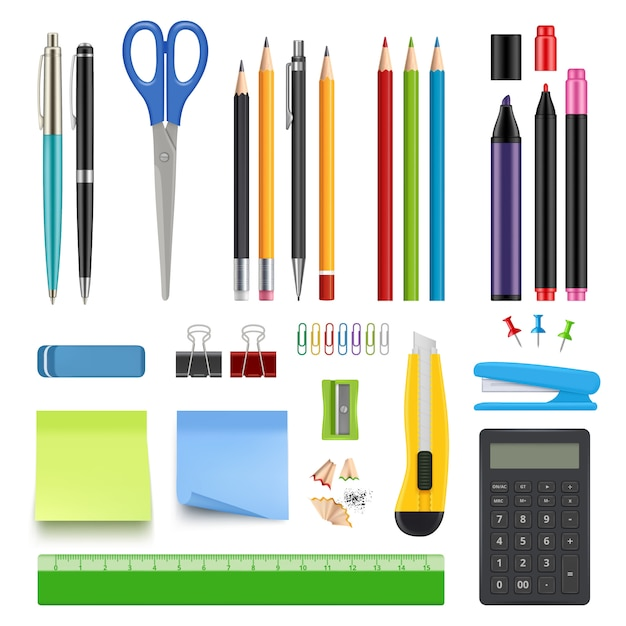 School stationery. pencil sharp pen eraser calculator knife and stapler  realistic collection Premium Vector