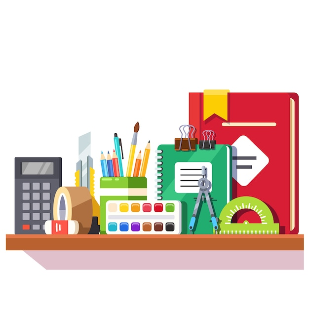 School student stationary supplies on the shelf Free Vector