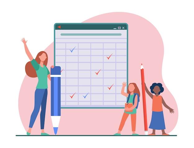 Школьники на доске. девушки и молодая женщина, держащая огромные карандаши, поднимая руки плоской иллюстрации Бесплатные векторы