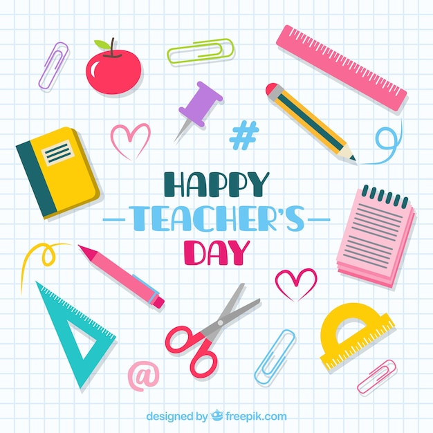 School stuff on a notebook sheet, teacher's day Free Vector