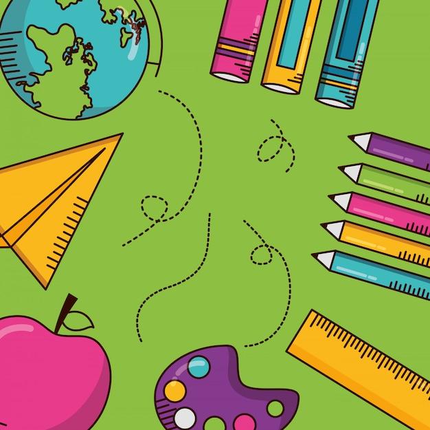 School supplies, books, pencils, rule Free Vector