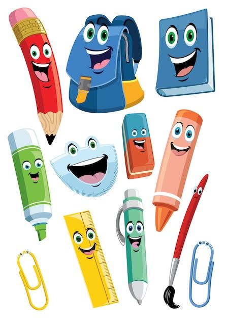 School supplies cartoon characters set Premium Vector