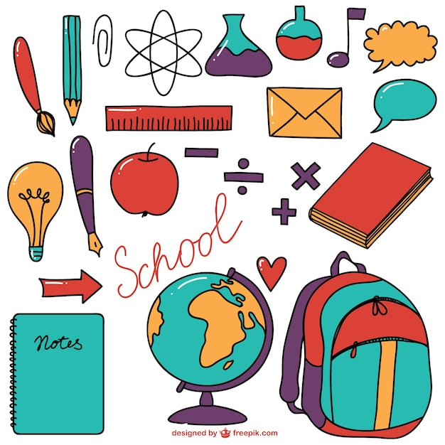School supplies colourful collection Free Vector