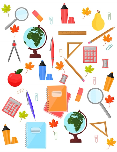 School supplies pattern Vector background. Back to ...