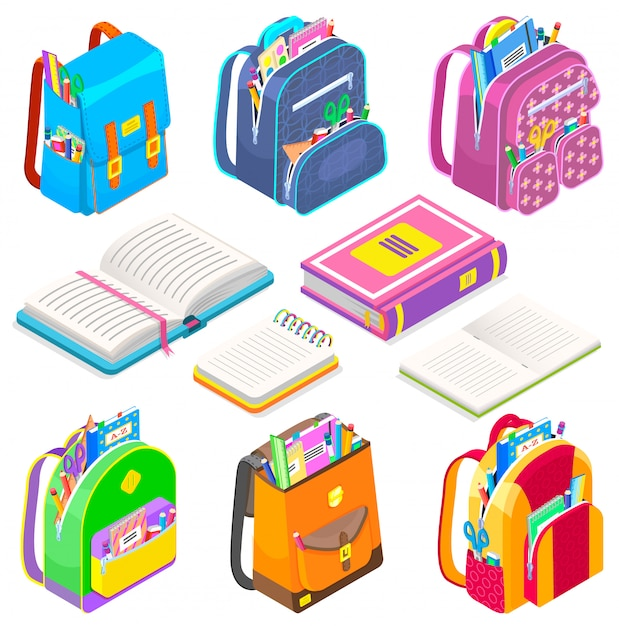 School supplies satchels and books bags set icon Premium Vector