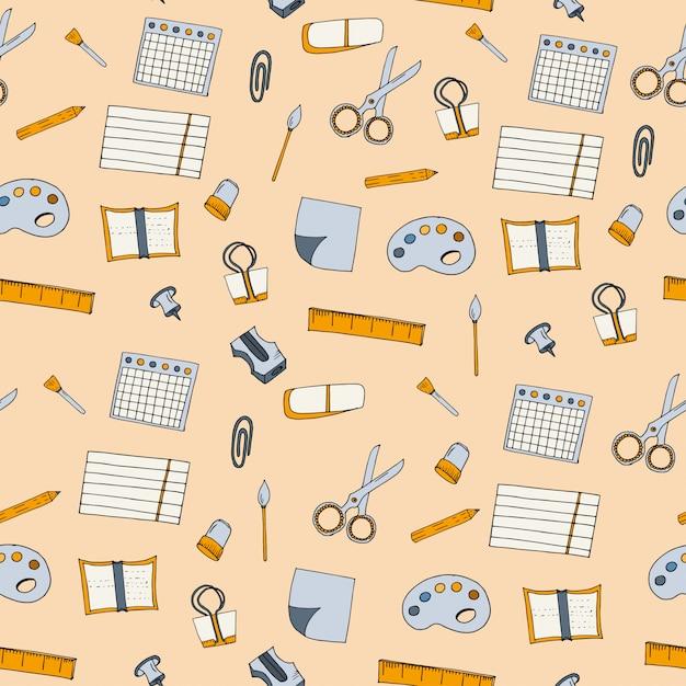 School supplies seamless pattern Premium Vector