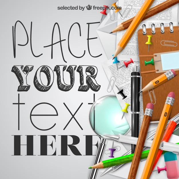 School supplies template Vector | Free Download