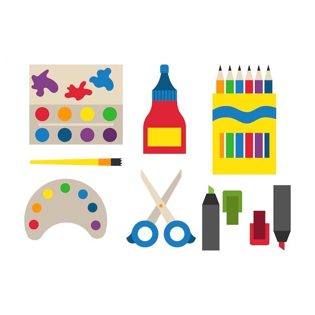 School supplies vector illustration. Premium Vector