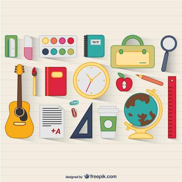 School supplies vector Free Vector
