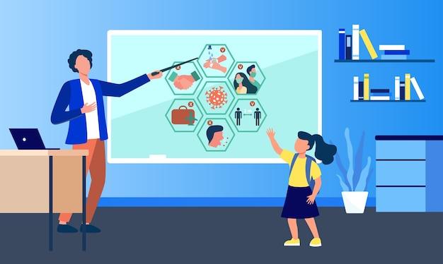 学校の先生がコロナウイルスのインフォグラフィックを提示します。禁止、制限、子供フラットベクトルイラスト。流行、ウイルス、拡散防止 無料ベクター