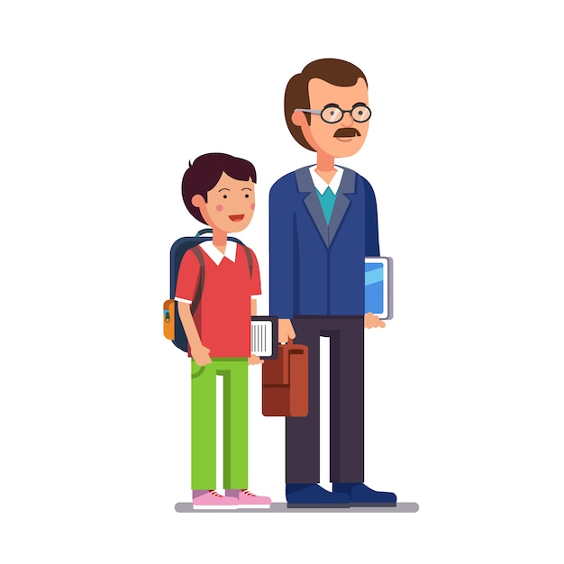 School teacher standing with his son or student Free Vector
