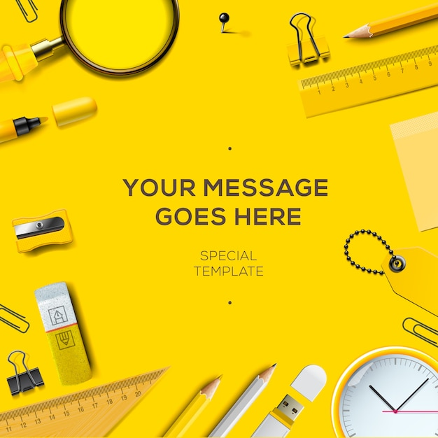 School template. colorful office supplies, yellow background, Premium Vector
