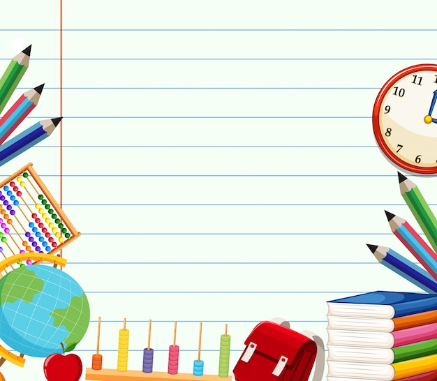 School themed background template Free Vector