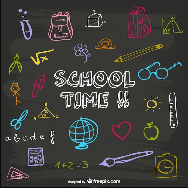 School Time Blackboard Design Vector