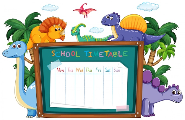 School time table with dinosaur Free Vector