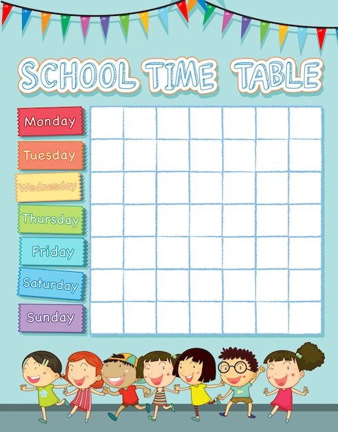 School time table with happy children Free Vector