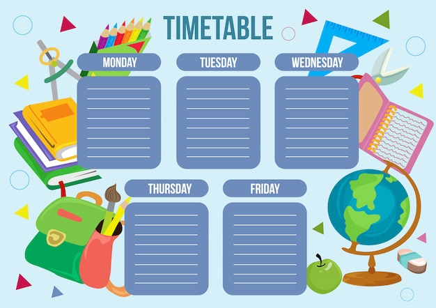 School time table with school object Premium Vector