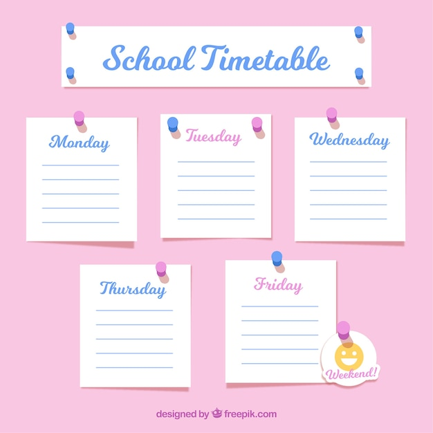 School timetable as notes Free Vector