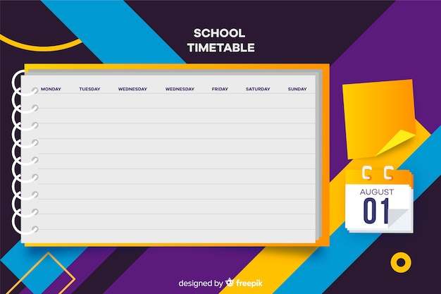 School timetable for children, weekly planner Free Vector