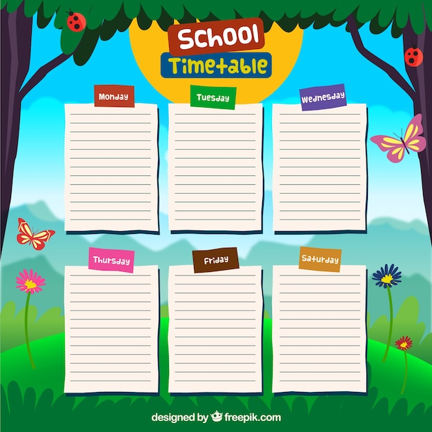Quotes On School Time Table: School Timetable Design Vector