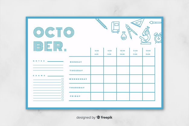 School timetable in flat style Free Vector