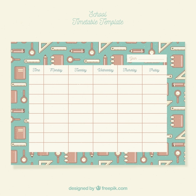 School timetable in vintage style