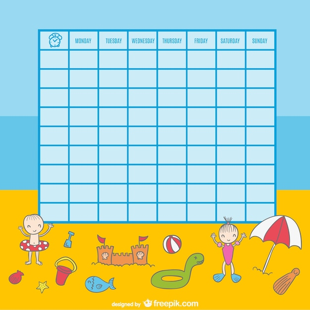School timetable of kids playing on the beach illustration Vector – School Time Table Designs