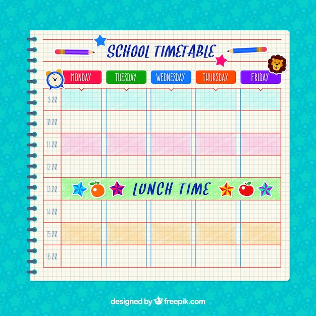 School timetable of notebook