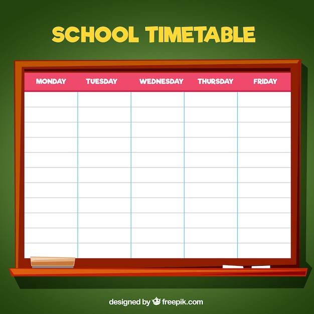 School timetable on the blackboard