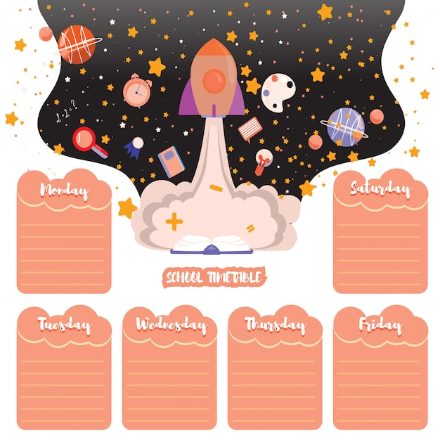 School timetable schedule back to school. space background with stars and school subjects Premium Vector