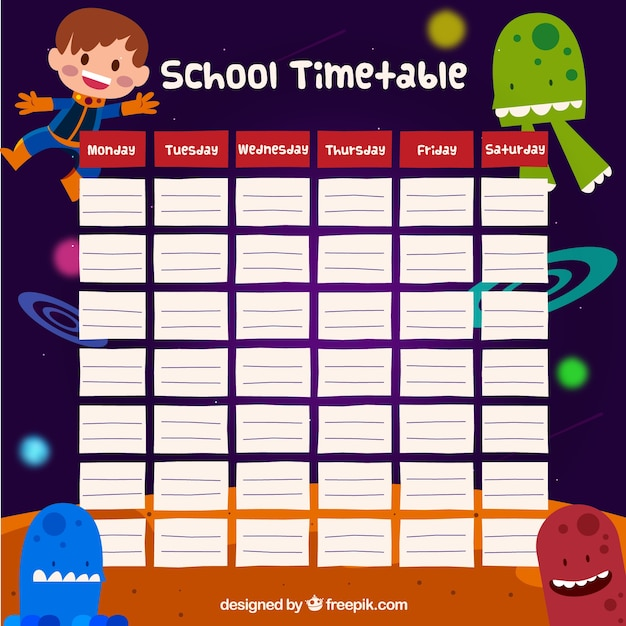 Quotes On School Time Table: School Timetable Space Design Vector