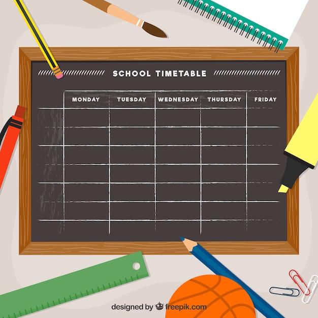 School timetable template blackboard style