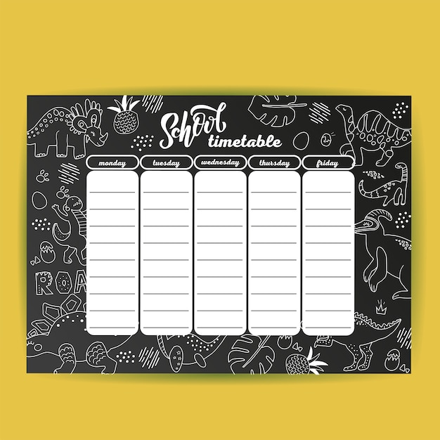 School timetable template on chalk board with hand drawn dino. Premium Vector