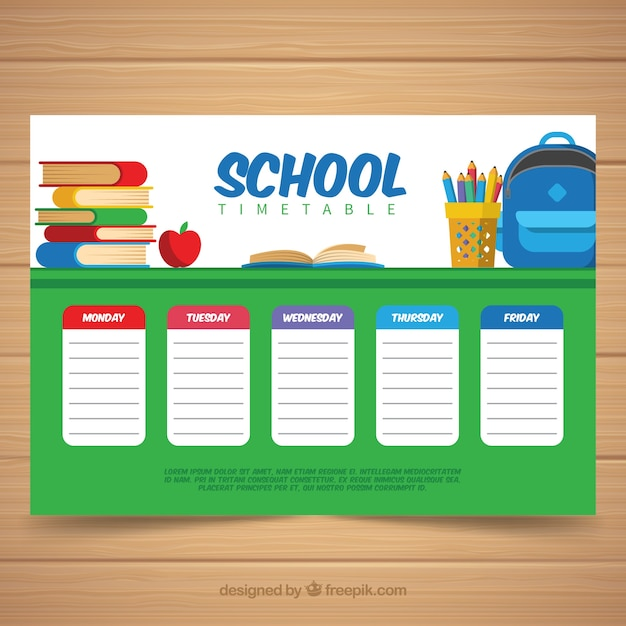 School timetable template in flat style Free Vector