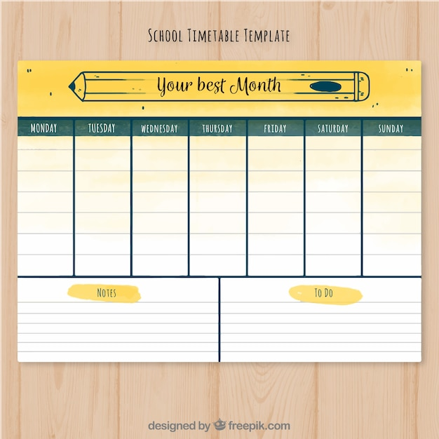 School Timetable Template Ready To Print Vector  Free Download