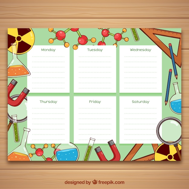 School timetable template science style