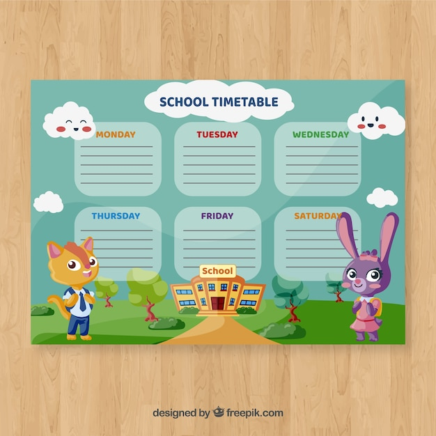 School timetable template with cartoon characters Free Vector